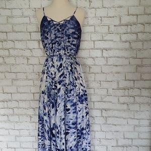 Catherine Maladrino Blue Animal Print Maxi Dress
